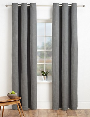 Bantry Weave Eyelet Curtains, CHARCOAL, catlanding