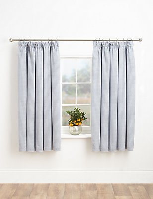 Ticking Stripe Blackout Curtains, BLUE MIX, catlanding