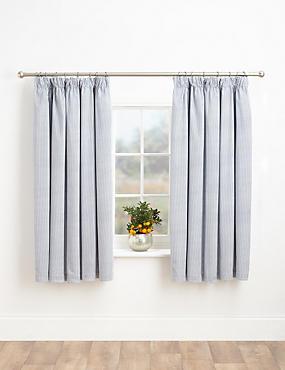 Ticking Stripe Blackout Curtains, BLUE MIX, catlanding
