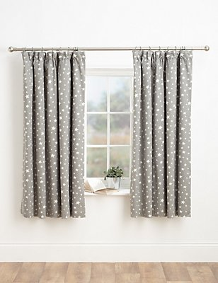 Star Print Pencil Pleat Curtains, GREY MIX, catlanding