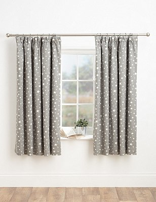 Star Print Pencil Pleat Curtains, GREY MIX, catlanding