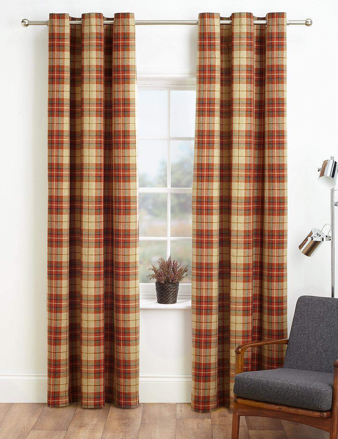 Brown plaid curtain panels - Check Curtain Close Info Panel