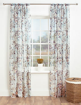 Floral Sheer Voile Curtain, , catlanding
