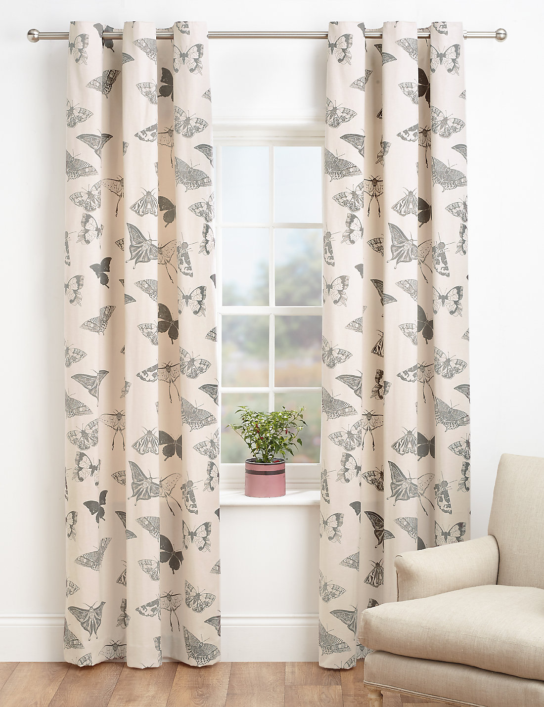 Butterfly printed eyelet curtains living room curtains for M s living room curtains