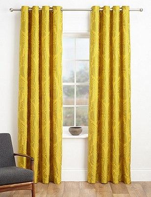 Glamorous Damask Eyelet Curtains, OCHRE, catlanding