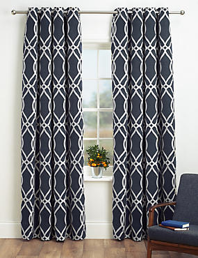 Geometric Jacquard Eyelet Curtains, NAVY MIX, catlanding