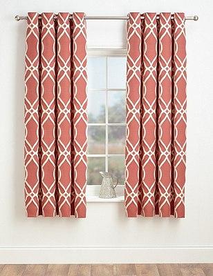 Geometric Jacquard Eyelet Curtains, TERRACOTTA, catlanding