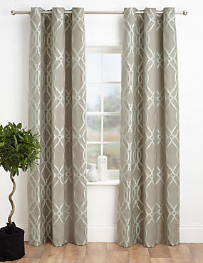 Geometric Jacquard Eyelet Curtains, TAUPE MIX, catlanding