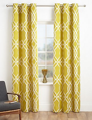 Geometric Jacquard Eyelet Curtains, OCHRE, catlanding