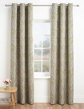 Solaro Damask Curtains, GREEN MIX, catlanding