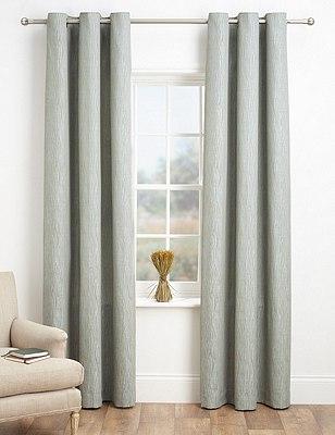 Textured Stripe Eyelet Curtains, DUCK EGG, catlanding