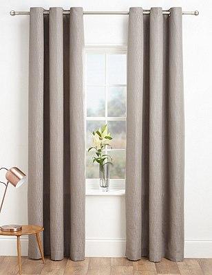 Textured Stripe Eyelet Curtains, LILAC MIX, catlanding