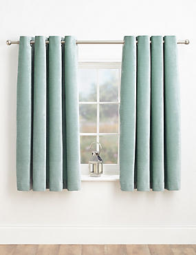 Chenille Eyelet Curtains, DUCK EGG, catlanding