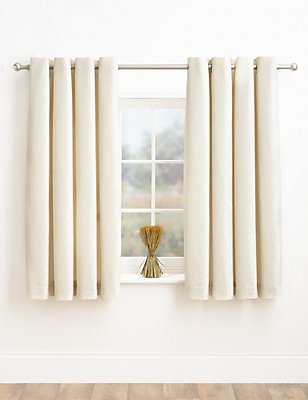 Chenille Eyelet Curtains, IVORY, catlanding