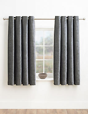 Chenille Eyelet Curtains, CHARCOAL, catlanding
