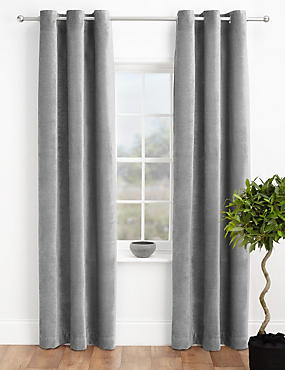 Chenille Eyelet Curtains, SILVER, catlanding