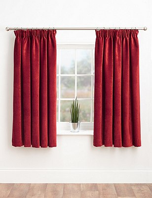 Chenille Pencil Pleat Curtains, DARK RED, catlanding