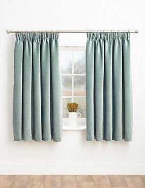 Chenille Pencil Pleat Curtains, DUCK EGG, catlanding