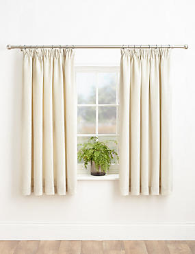 Chenille Pencil Pleat Curtains, IVORY, catlanding