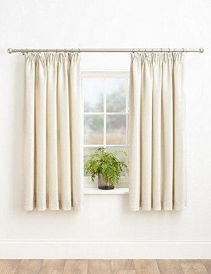 Chenille Pencil Pleat Curtains, IVORY, catlanding