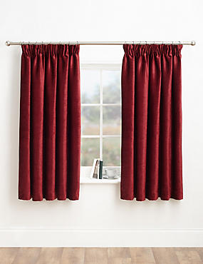 Chenille Pencil Pleat Curtains, CRANBERRY, catlanding
