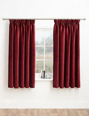 Chenille Pencil Pleat Curtains, CRANBERRY, catlanding