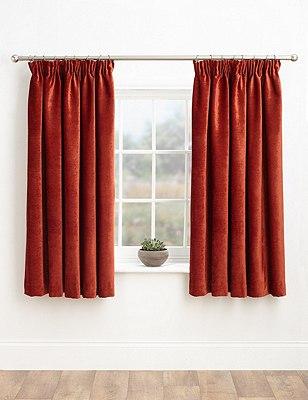 Chenille Pencil Pleat Curtains, TERRACOTTA, catlanding