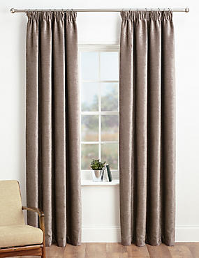 Chenille Pencil Pleat Curtains, MOCHA, catlanding