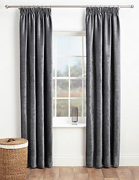 Chenille Pencil Pleat Curtains, CHARCOAL, catlanding