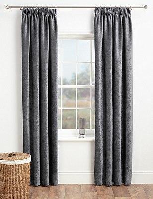 Chenille Pencil Pleat Curtains, CHARCOAL, catlanding