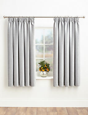 Chenille Pencil Pleat Curtains, SILVER, catlanding