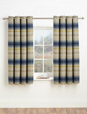 Stripe Eyelet Curtains, BLUE MIX, catlanding