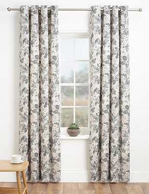 Painted Floral Eyelet Curtains, GREY MIX, catlanding