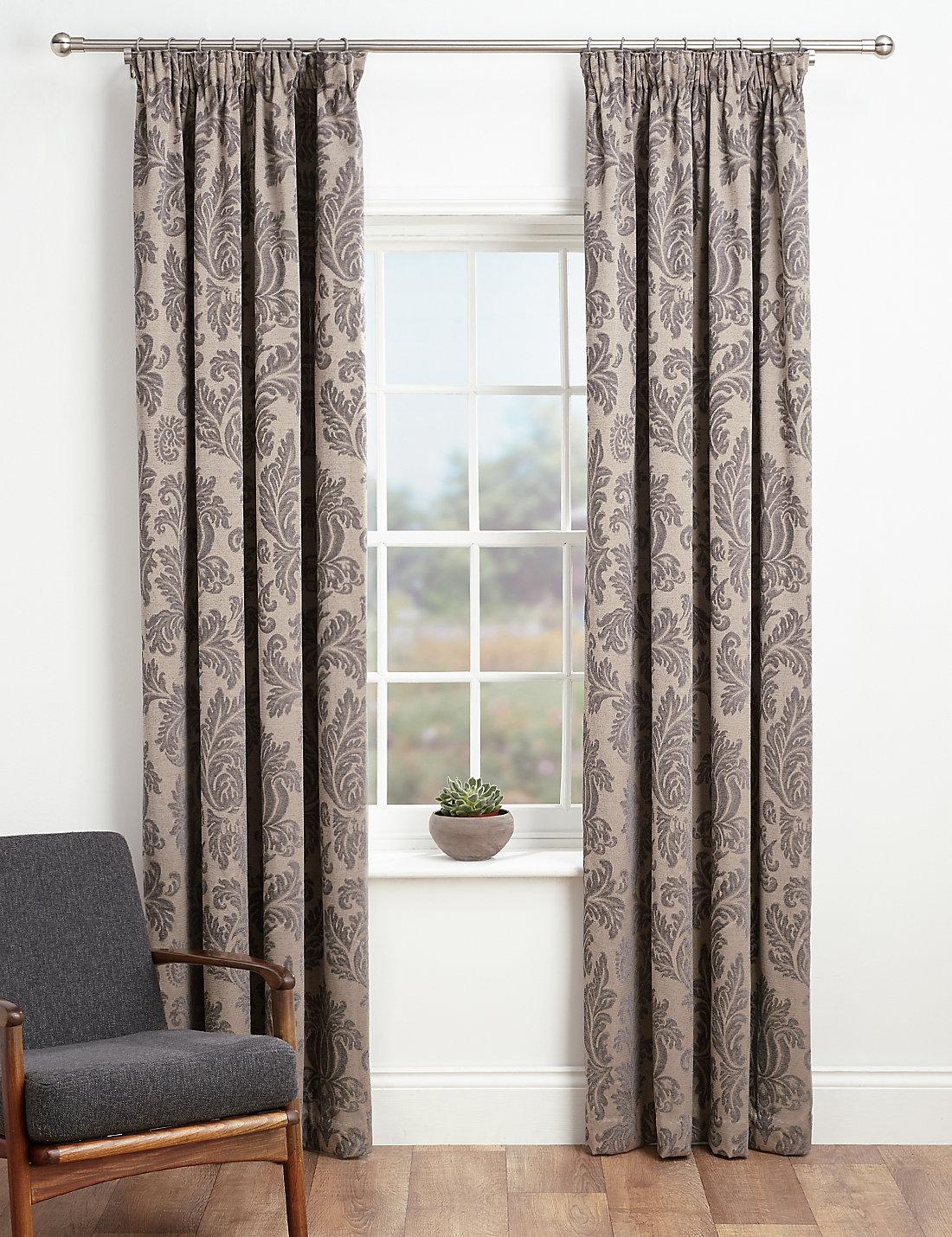 Damask bedroom curtains - Elegant Damask Pencil Pleat Curtains