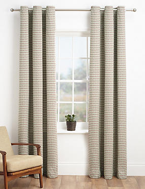 Chenille Dotty Eyelet Curtains, RED MIX, catlanding