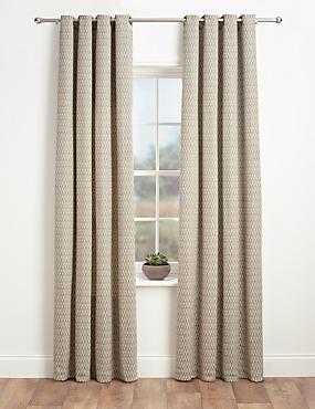 Chenille Dotty Eyelet Curtains, CREAM MIX, catlanding
