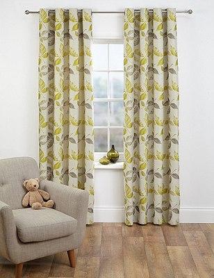 Leaf Jacquard Eyelet Curtain, OCHRE, catlanding