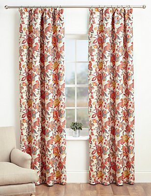 Bright Floral Pencil Pleat Curtains, PINK MIX, catlanding