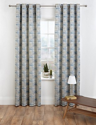 Painterly Jacquard Eyelet Curtains, BLUE, catlanding