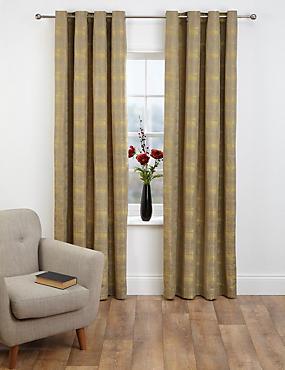 Painterly Jacquard Eyelet Curtains, OCHRE, catlanding