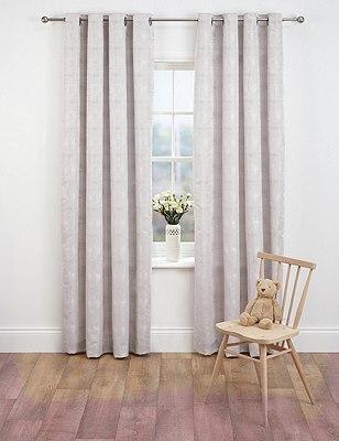 Painterly Jacquard Eyelet Curtains, OYSTER, catlanding