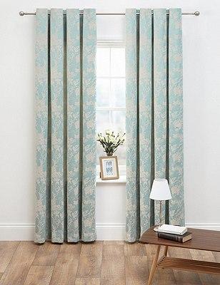Floral Jacquard Eyelet Curtains, DUCK EGG, catlanding