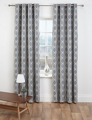 Diamond Jacquard Eyelet Curtains, GREY MIX, catlanding