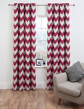 Chevron Jacquard Eyelet Curtains, PINK MIX, catlanding