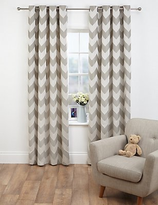 Chevron Jacquard Eyelet Curtains, GREY MIX, catlanding