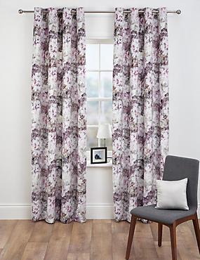 Floral Velvet Eyelet Curtains, PINK MIX, catlanding