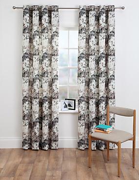 Floral Velvet Eyelet Curtains, GREY MIX, catlanding