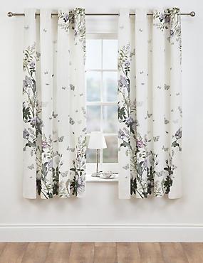 Floral Digital Printed Eyelet Curtains, LILAC MIX, catlanding