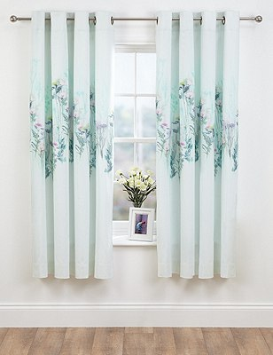 Watercolour Floral Eyelet Curtain, MINT MIX, catlanding