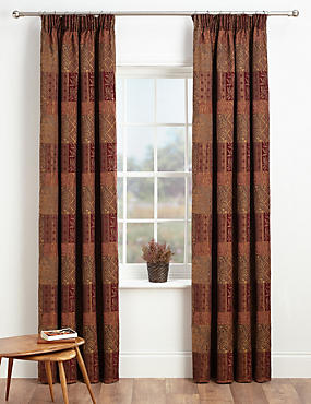 Patch Jacquard Pencil Pleat Curtains, BURGUNDY MIX, catlanding
